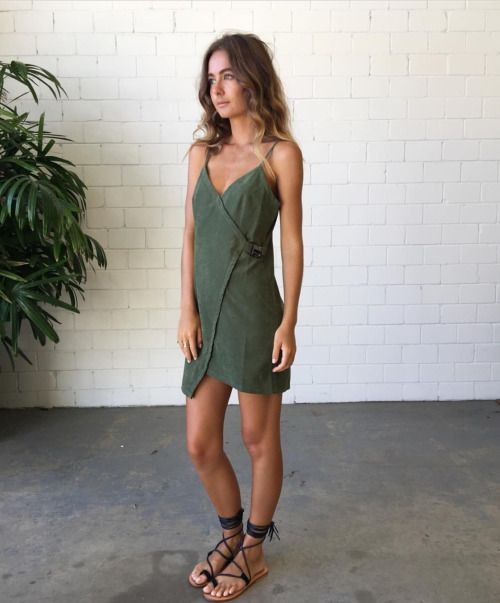 Khaki green wrap dress, gladiator sandals