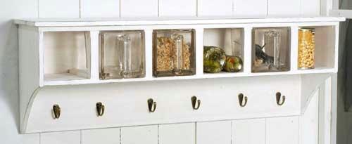 Ib Laursen Küchenregal Wandregal mit Glasschütten Landhaus Shabby Chic weiß