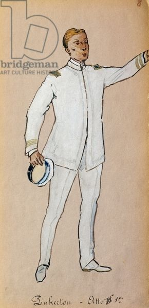 Costume for Pinkerton in Act III of Madama Butterfly by Giacomo Puccini, sketch by Giuseppe Palanti (1881-1946) for the opera's performance at the Teatro alla Scala in Milan, 1904. 20th century