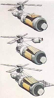 With the protective micrometeoroid shield missing, it became necessary to shield the workshop from the Sun by other means. A number of methods were devised, and two were ultimately used. The three sketches show the schemes selected. The upper sketch depicts shading by means of the rectangular parasol, which was deployed from inside the workshop by the first crew. The second concept called for the astronauts to rig a shield from the command and service module maneuvering alongside Skylab…