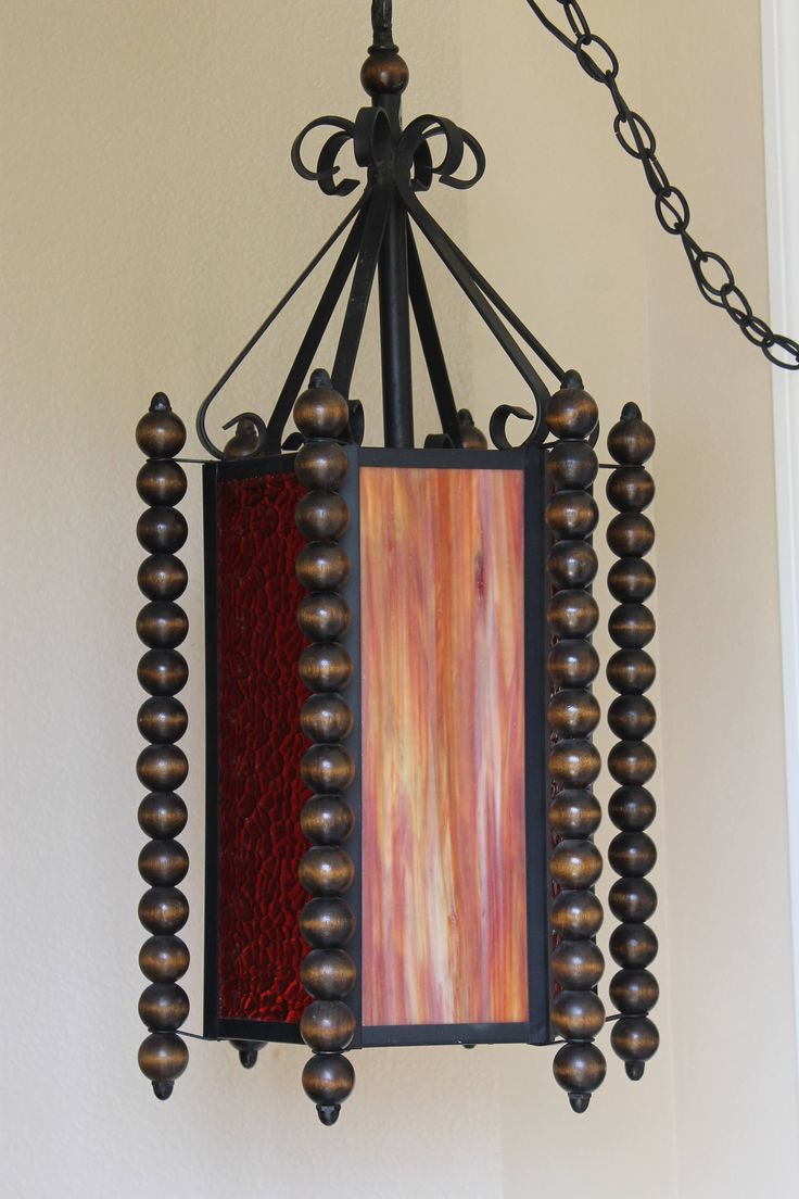 Vintage Mediterranean Style Light Wrought Iron with Textured Stained Glass Panels by CharleysRoses on Etsy