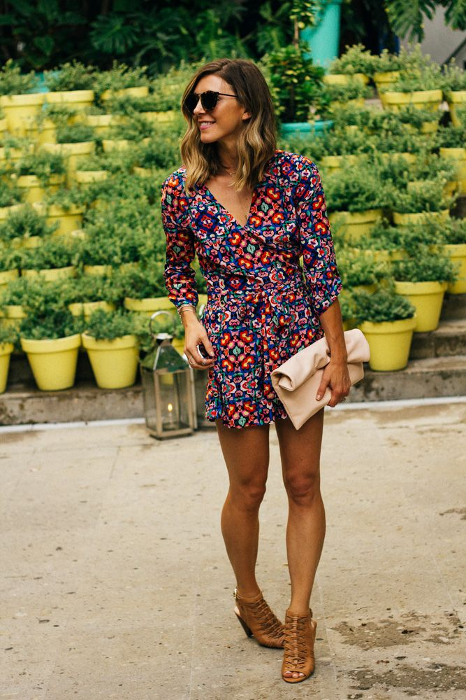 Yumi Kim Print Romper Shop Here // Necklace, Rings, Bracelets By Gabriel Ny C/o Here // Vince Camuto Wedge Heels By Cella Jane