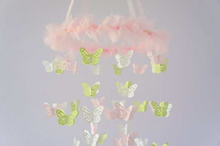 Nursery Mobile- Pink, Green, & White Butterfly Mobile,