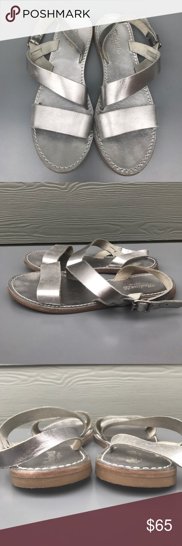 Madewell silver soft leather flat sandal Great condition Madewell soft silver leather flat sandals with buckle at ankle and diagonal strap across foot. I've worn these a few times for a date night, they are so lovely and soft but I sadly have to have arch support now. So pretty with a midi skirt or cropped jeans. Madewell Shoes Sandals