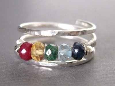 Mother's / Grandmother's Family Birthstone Ring #jewelry #wire wrapped #birthstone #necklace