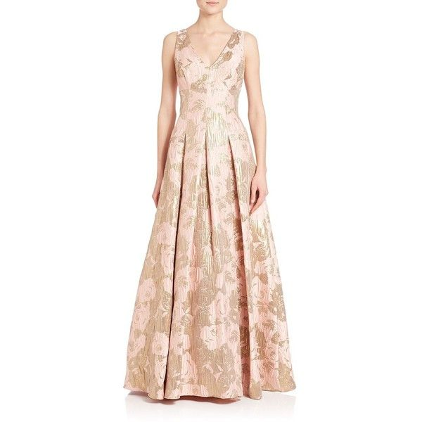 Aidan Mattox Metallic Jacquard Ball Gown ($490) ❤ liked on Polyvore featuring dresses, gowns, apparel & accessories, evening cocktail dresses, holiday dresses, pink evening gowns, v neck evening gown and metallic evening dress