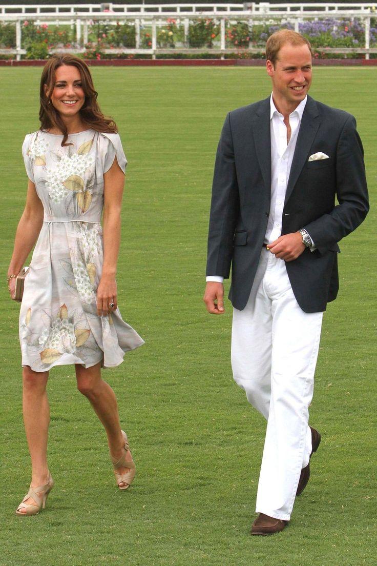 Prince William Kate Middleton Expecting Baby White Pants Blue Blazer Short White Tea Dress