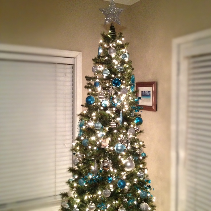 our silver and teal christmas tree - Teal Christmas Tree