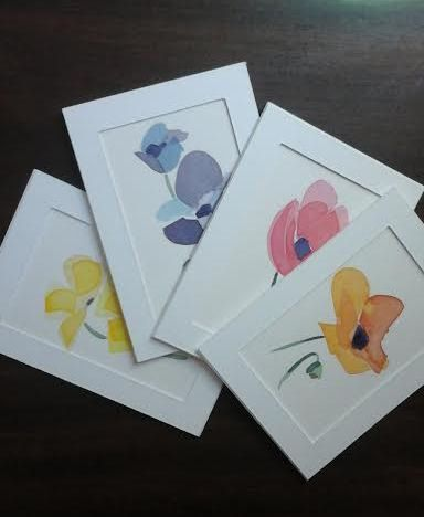 4 Original Watercolour-Painted Greeting Cards by by MyCoveArt