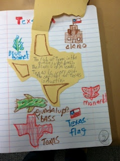 Interactive Notebooking TEXAS style.....I love the idea of adding a page for each state and making this part of our Fifty Nifty Unit