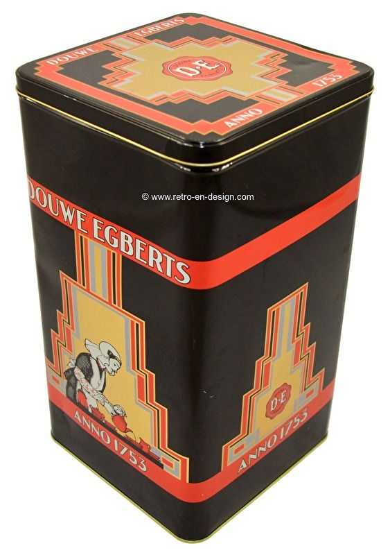 """Douwe Egberts Anno 1753. Large vintage storage tin for coffee Douwe Egberts Anno 1753.   Lovely Large rectangular tin by Douwe Egberts coffee. The colors, logos, the coffee pouring lady and the advertisement: """"anno 1753"""" are still as new. The condition of this storage tin is good. Very collectable!  see: http://www.retro-en-design.co.uk/a-44660978/tins/douwe-egberts-anno-1753-large-vintage-storage-tin-for-coffee/"""