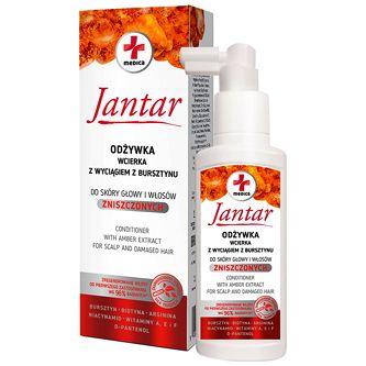 FARMONA Jantar Medica, Odżywka - wcierka do włosów zniszczonych, 100 ml Regeneruje • Wzmacnia • Nadaje połysk • Nawilża • Łagodzi podrażnienia skóry