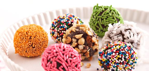 Brownie Truffles - simply add water to a package of fudge brownie mix, scoop into balls, add a topping (sprinkles, etc.) and chill.