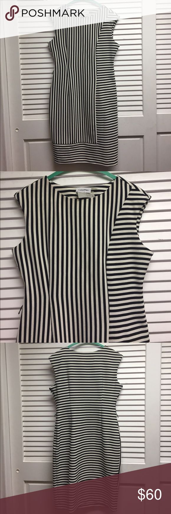 NWOT Black & White Striped Calvin Klein Dress NWOT Adorable black & white CK dress. Has small belt loops, I no longer have the belt. Calvin Klein Dresses Midi