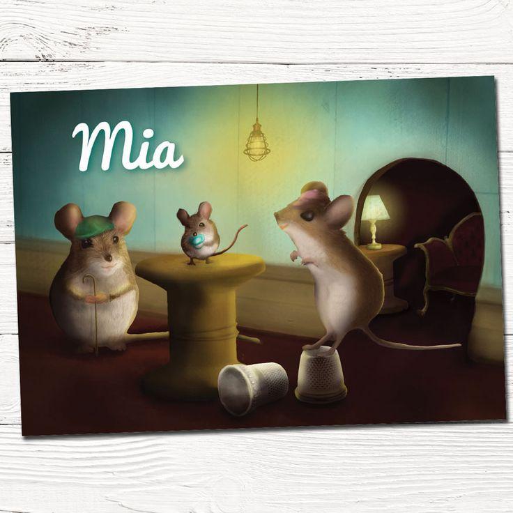 Geboortekaartje | origineel | muisjes | dieren | vintage | familie | babykaartje | Hier ben ik!