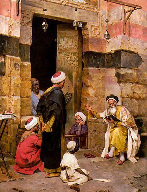 Arthur Ferraris (1856 – 1936, Hungarian), Reading The Koran
