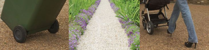 COREpath comes in a handy install pack containing 6 sheets measuring 600mm x 400mm, with a grid thickness of 18mm.  The pack will cover a total area of 1.38m2. At an average pathway width of 800mm, the pack will surface a 1.725m pathway. COREpath makes gravel suitable for; wheelie bins, wheel barrows, pedestrians, bicycles and much, much more. Specifically Designed for Self Installation  COREpath has been specifically designed for self installation. It's as easy as 1, 2, 3!
