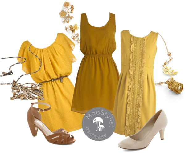 """""""Mustard Bridesmaid Dresses"""" by modcloth ❤ liked on Polyvore"""