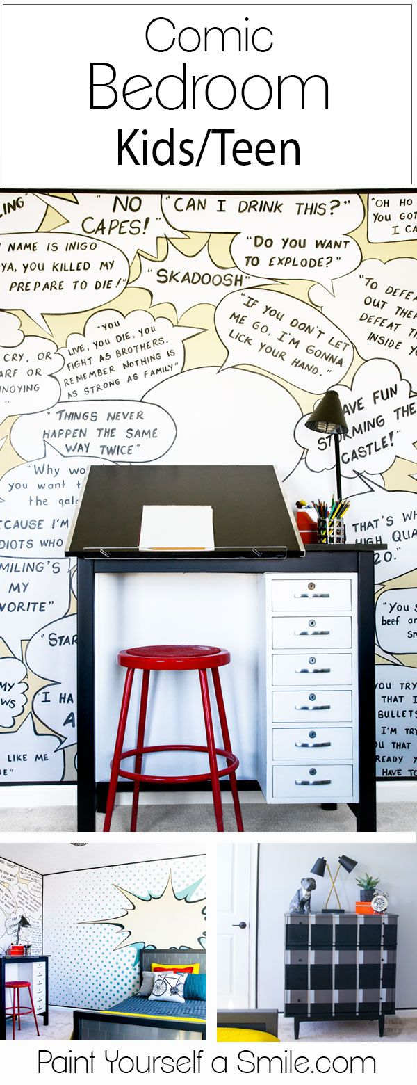 Great Comic Bedroom!! ART Art desk and awesome kids Makeover!! This room is full of fun walls and great DIY furniture all done in a pop art comic theme!!