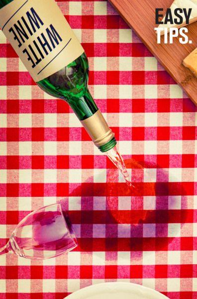 EasyTips: Los het ene ongelukje op met een andere. Witte wijn werkt super bij het verwijderen van een rode wijn vlekken.