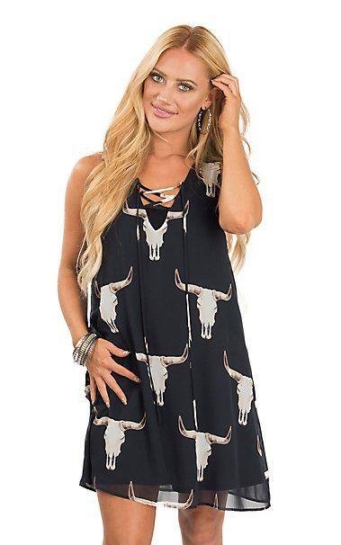Peach Love Women's Navy Skull Print Sleeveless Dress | Cavender's