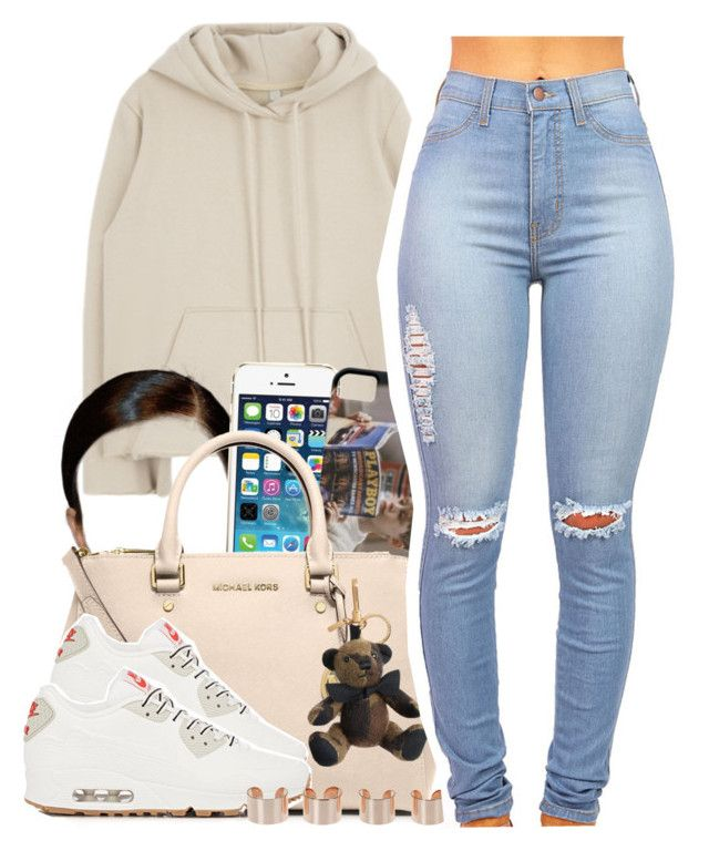 """Gangsta Gangsta"" by trapanese-kids ❤ liked on Polyvore featuring MICHAEL Michael Kors, NIKE, Burberry and Maison Margiela"