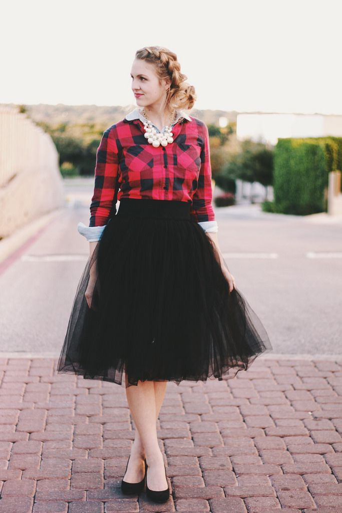 gorgeous black tulle skirt outfit 14