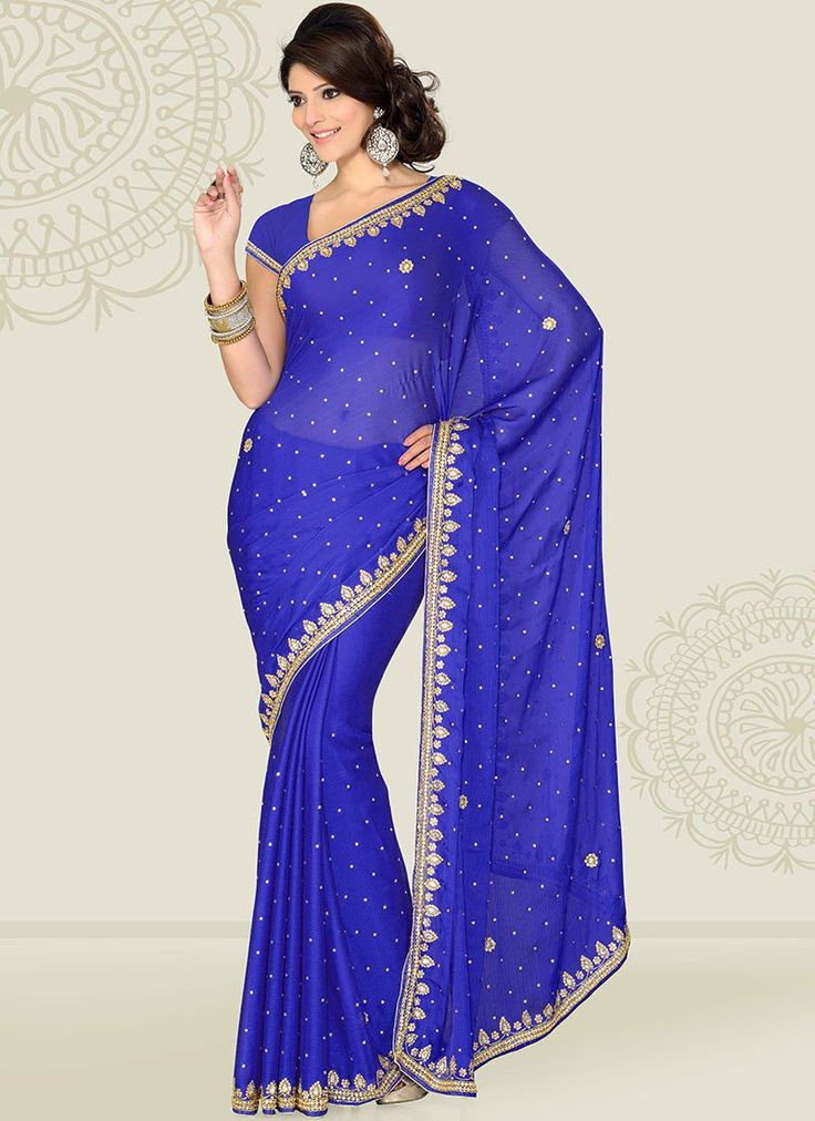 Vibrant Blue Satin Chiffon Saree