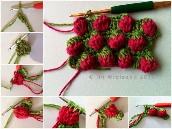Strawberry Bobble Stitch Free Crochet Pattern