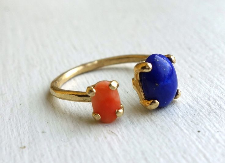 Dual Brass Ring with Lapis and Coral