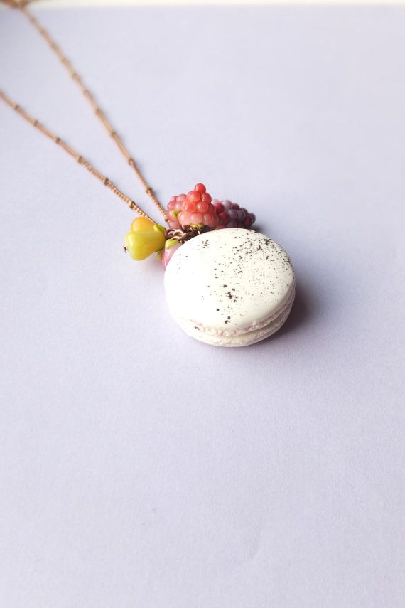 White chocolate macaroon Pendant / clay macaron necklace / clay french macaroon / white pendant / dessert pendant / LONG Brown tone Chain