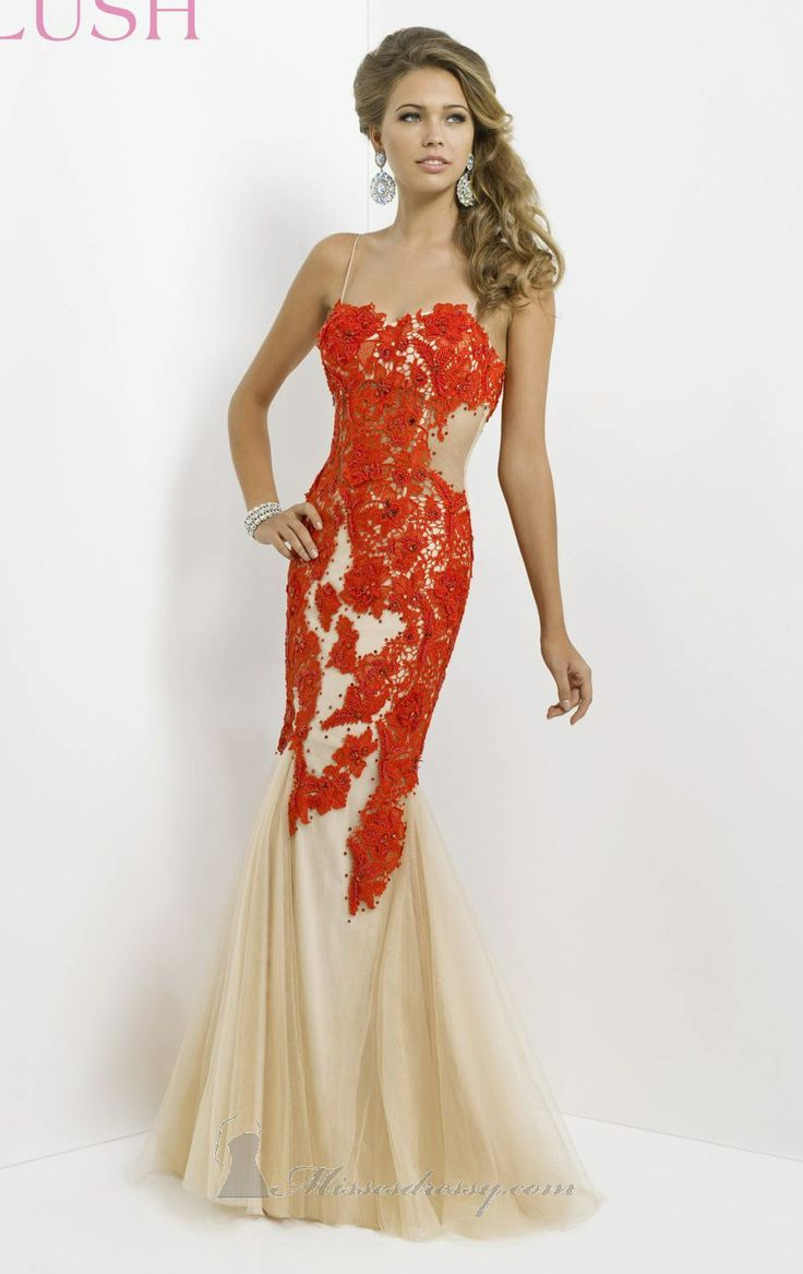Red and Cream Lace Prom Dress