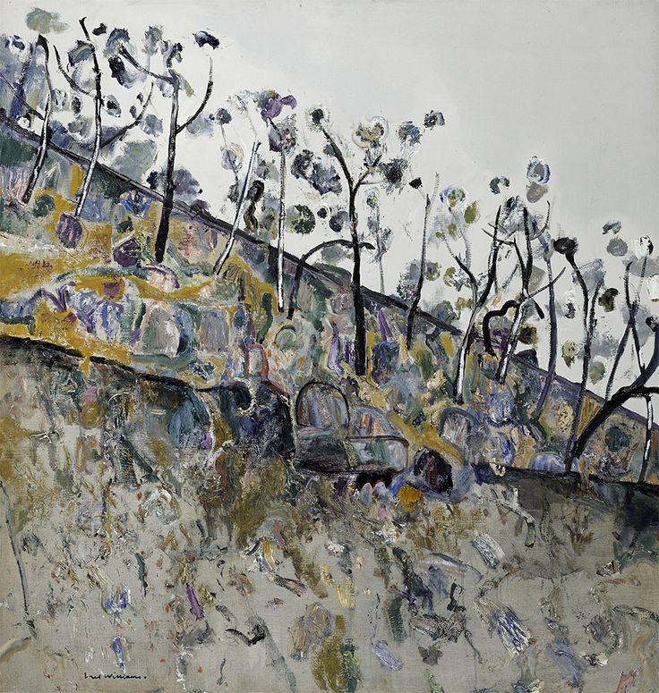 Fred Williams (Australian, 1927-1982), Trees on a Hillside, Steiglitz, 1977. Oil on canvas, 106.4 x 101.7 cm.