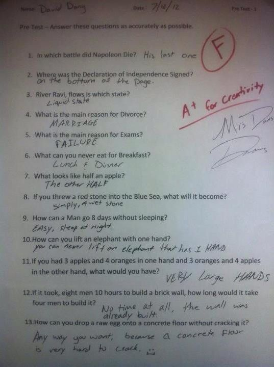 Funny answers to a test. Taken from fb.
