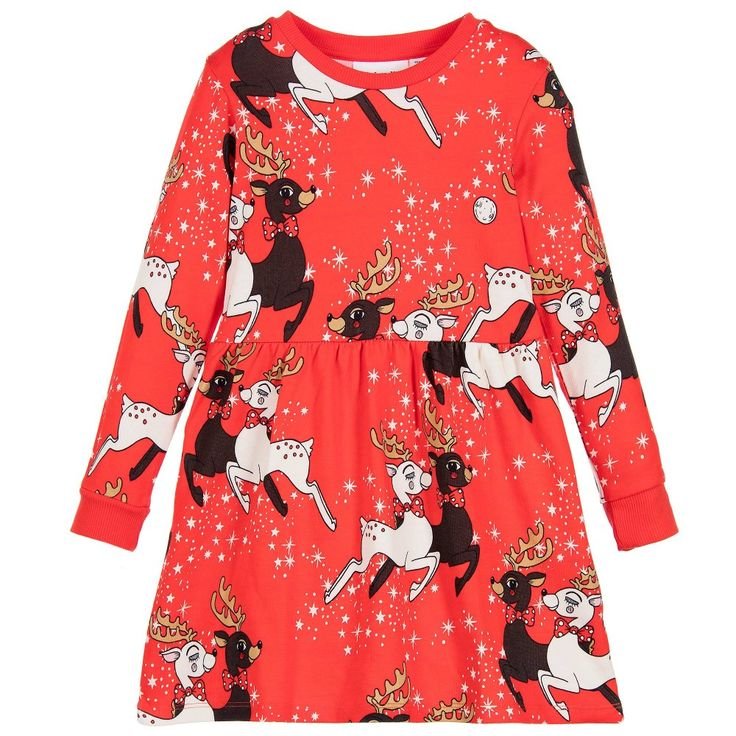Mini Rodini - Girls Red Reindeer Organic Dress