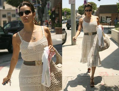 famous crochetBeautiful Celebrities, Crochet Fashion, Celebrities Style, Longoria Crochet, Crochet Projects, Crochet Bags, Crochet Dresses, Eva Longoria, Crochet Clothing