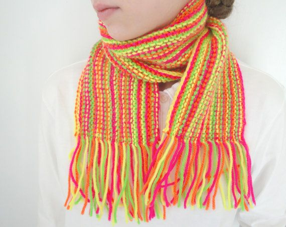 Striped Neon Scarf with Fringe Short Knitted Safety & by Girlpower