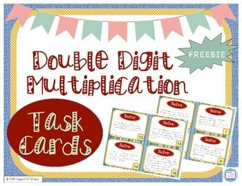 This FREEBIE is a set of 24 word problems for double digit multiplication (2 digit by 2 digit and 3 digit by 2 digit). Problems range from single step to multistep, more advanced problems, allowing you to differentiate for various ability levels. Click on the picture to download for FREE!!