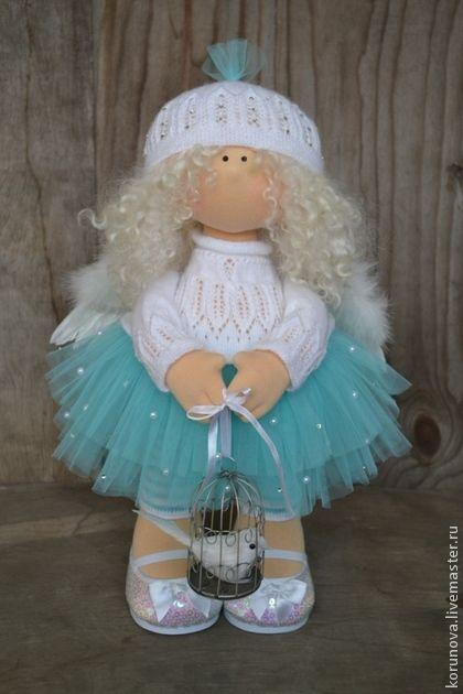 Ангел - бирюзовый,белый,интерьерная кукла,кукла ручной работы,авторская ручная работа