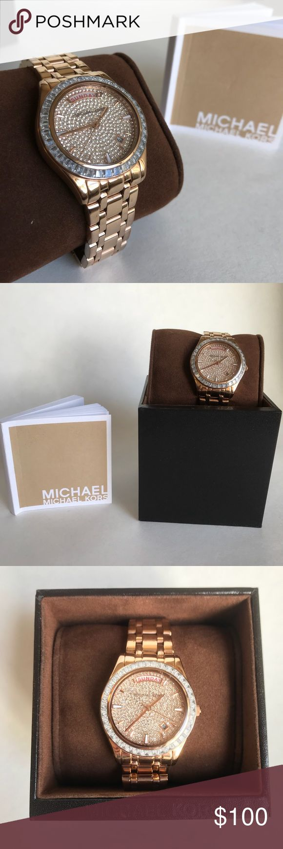 Michael Kors Rosegold Diamond Watch Michael Kors diamond rose gold watch. Like-new condition. Worn quite a bit, but very well taken care of. Has the day, date window, and ability to remove and add links to the chain. Comes with original box. KORS Michael Kors Accessories Watches