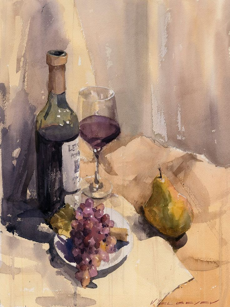 "Vladislav Yeliseyev ~ ""Still Life with Bottle of Red"""