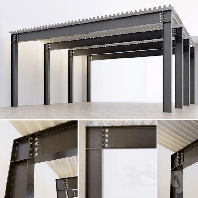 3d Models Miscellaneous Metal Construction Beam Column Steel Frame House Steel Frame Construction Steel House