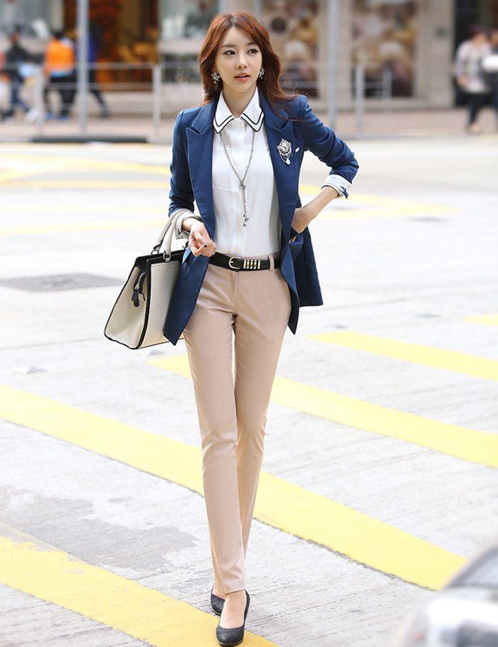 Fashionable Slim Fit OL Style Khaki Women's Pants