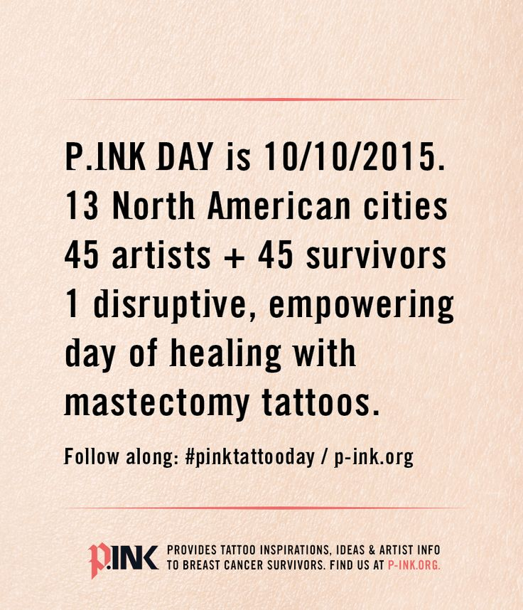 This is new: follow all the events from our upcoming P.ink Day weekend 10/10/2015 as they happen in real-time, across all 13 locations. #mastectomy #tattoos #breastcancer More details: http://p-ink.org/announcing-cities-and-artists-for-p-ink-day-2015/ [p-ink.org]