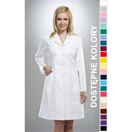 Dobrej jakości i wygodna odzież medyczna, to niezawodny atrybut każdego lekarza, pielęgniarki, czy farmaceutki. | Fartuch medyczny damski Hansa 0005. |