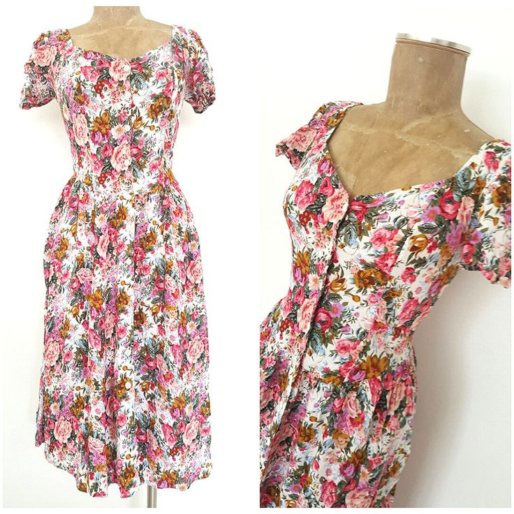 Vintage 80s Country Romance Dress Size Small Floral Summer Ruched Victorian  #CountryRomance #Sheath