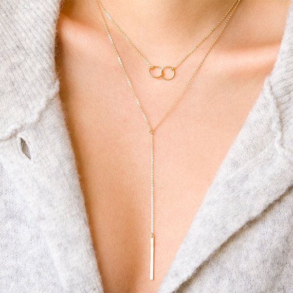 Interlocking Circle Necklace, Joint Circle, Union Necklace -  Classic and Modern. This Interlocking Circle Necklace features two interlocking