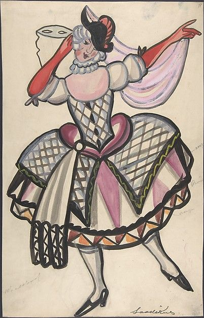Sergey Sudeykin (Russian, 1882–1946). Woman in a harlequin costume holding a mask, first half 20th century. The Metropolitan Museum of Art, New York. Gift of William S. Wasserman, 1965 (65.715.7) #halloween #costume
