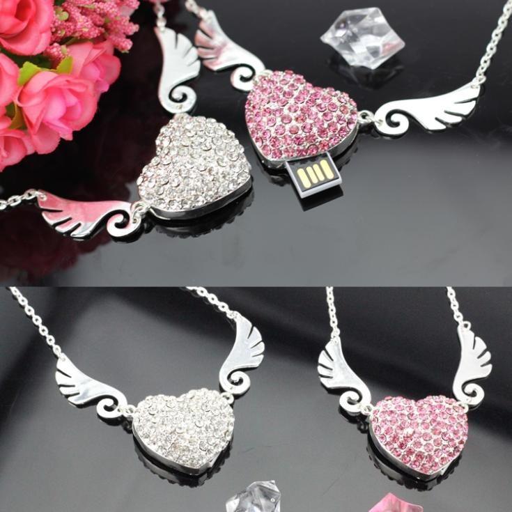 Jewelry Heart Diamond Usb Flash Drive 512GB 128GB Pendrive 64GB 32GB 16GB Memory Flash Card Stick Pen Drive 256GB Luxury Gift