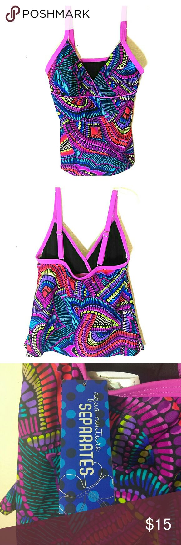 NWT Separates multicolored Tanktini size 6 Aqua Couture Separates Multicolored Tanktini size 6. Pink, blue, red, orange, green, purple and black colors. Made with 81% Nylon 19% spandex.  Very soft and comfortable, feels soft and lightweight. Adjustable straps for great fit. Stay cool and dry,  goes great with any solid or colored bottom. Great for summer days at the pool or beach.🌅❤ aqua couture separates Jeans Flare & Wide Leg